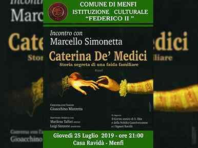 """Immagine articolo: Menfi, giovedì incontro con Marcello Simonetta, autore del libro """"Caterina De' Medici storia segreta di una faida familiare"""""""