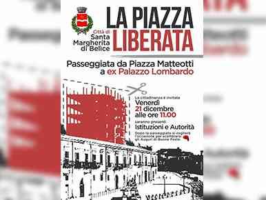 """Immagine articolo: S. Margherita di Belìce, demolito ecomostro che ha dominato sulla piazza del Gattopardo. Appuntamento venerdì  per una passeggiata nella """"Piazza Liberata"""""""
