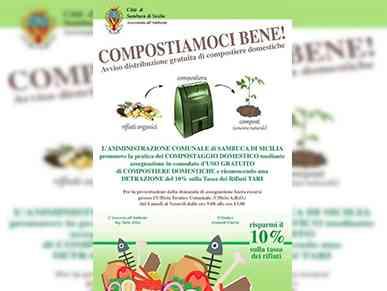 """Immagine articolo: A Sambuca di Sicilia parte la campagna """"Compostiamoci bene! """". In distribuzione compostiere domestiche. Previsti risparmi sulla Tari"""