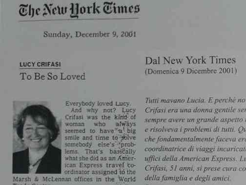 Immagine articolo: In ricordo di Lucia Crifasi, cittadina di Montevago vittima dell'attentato delle Torri Gemelle.Oggi una messa per ricordarla