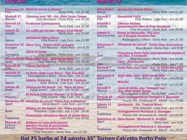 """Immagine articolo: Menfi, """"Estateinsieme 2018"""": pubblicato il calendario dell'Estate Menfitana. Le date e gli appuntamenti"""