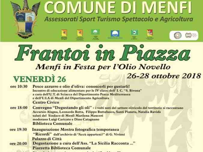 """Immagine articolo: """"Frantoi in Piazza"""" a Menfi. Kermesse da domani fino a domenica dedicato all'olio novello"""