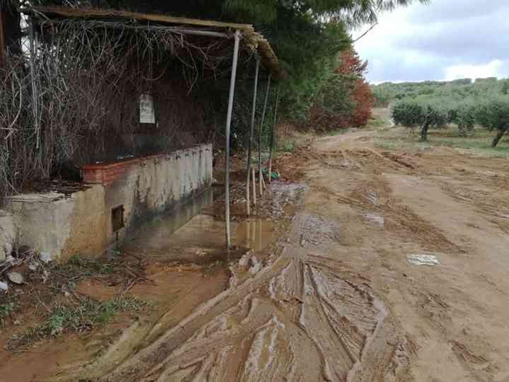 """Immagine articolo: Il lettore scrive: """"In zona 'a li 4 Cannola' di Menfi strada non asfaltata e disagi per il fango"""""""