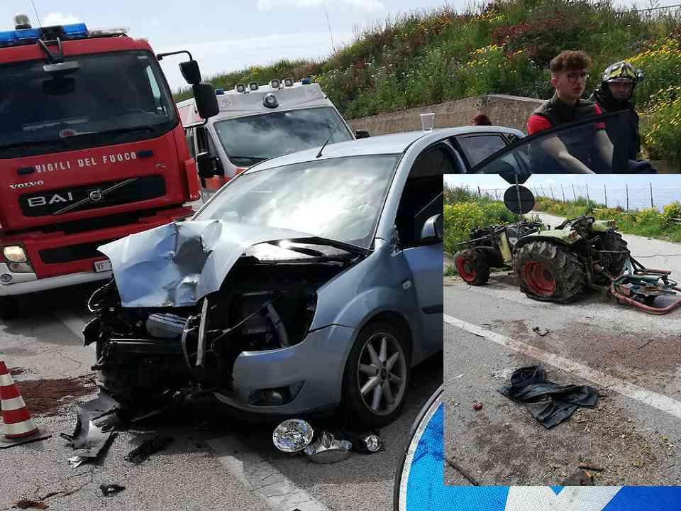 Immagine articolo: Scontro auto-trattore. 5 i feriti, 4 saccensi e 1 menfitano