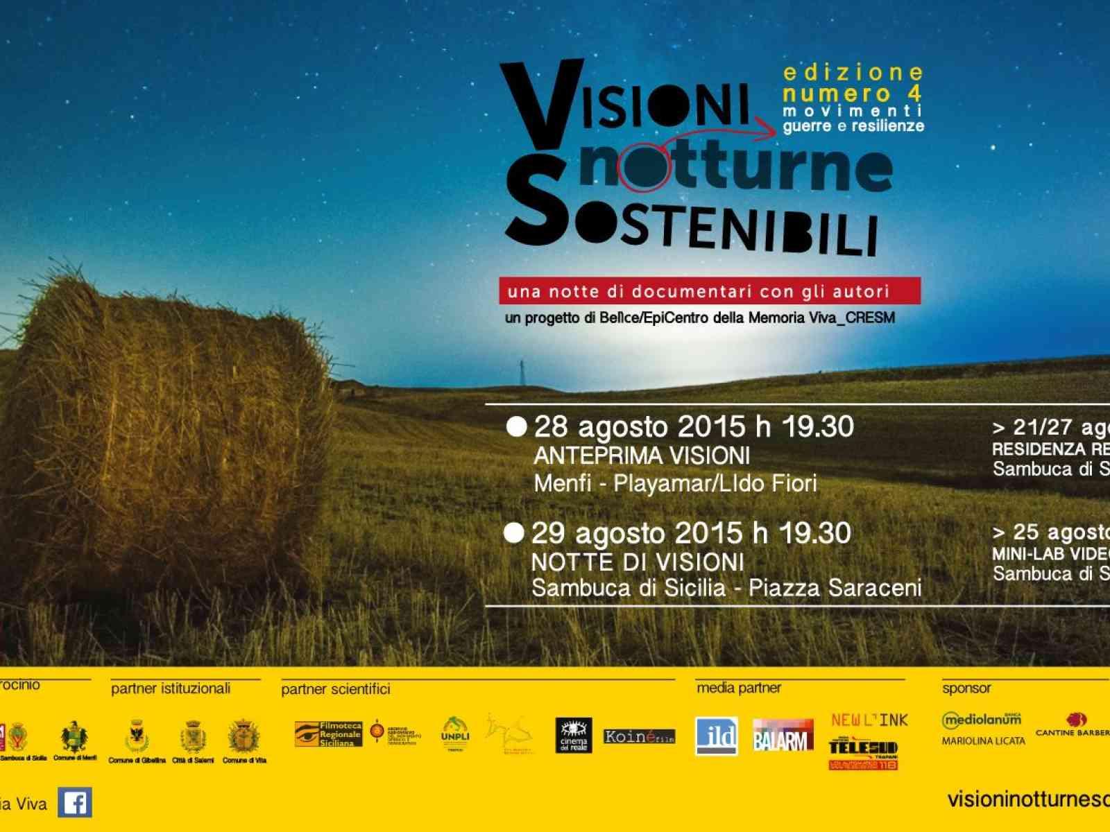 Menfi. Visioni Notturne Sostenibili. Il 28 agosto a Lido Fiori documentari ed arte