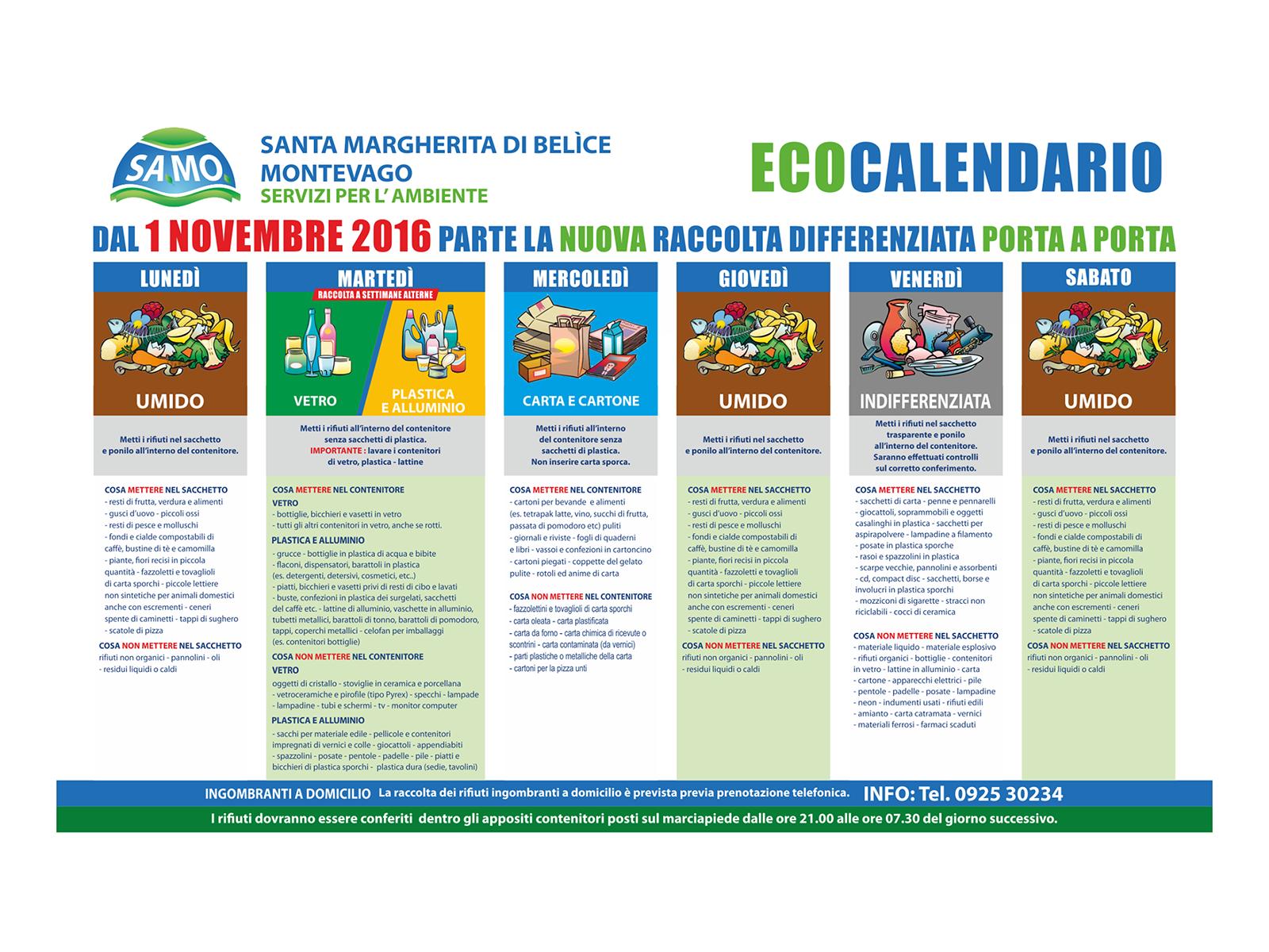 Differenziata a Santa Margherita e Montevago, il nuovo calendario dal 1° novembre