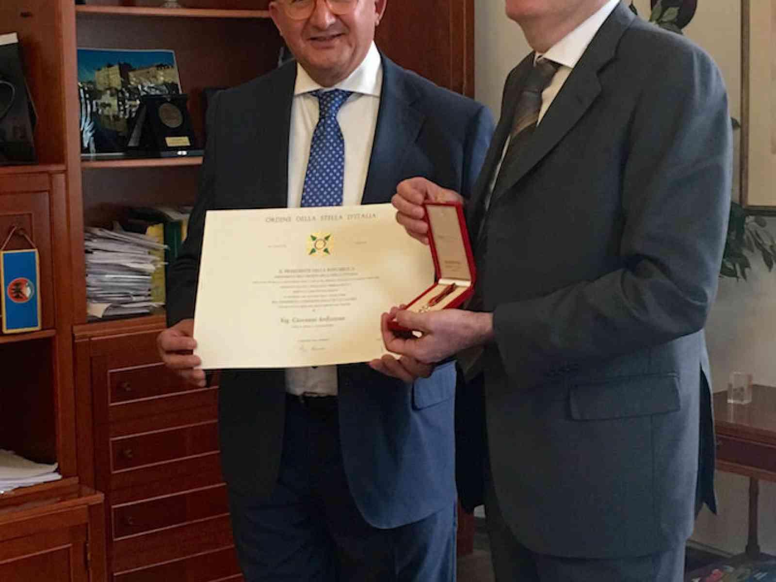 Il menfitano Giovanni Ardizzone insignito dell'onorificenza di Cavaliere dell'Ordine della Stella d'Italia