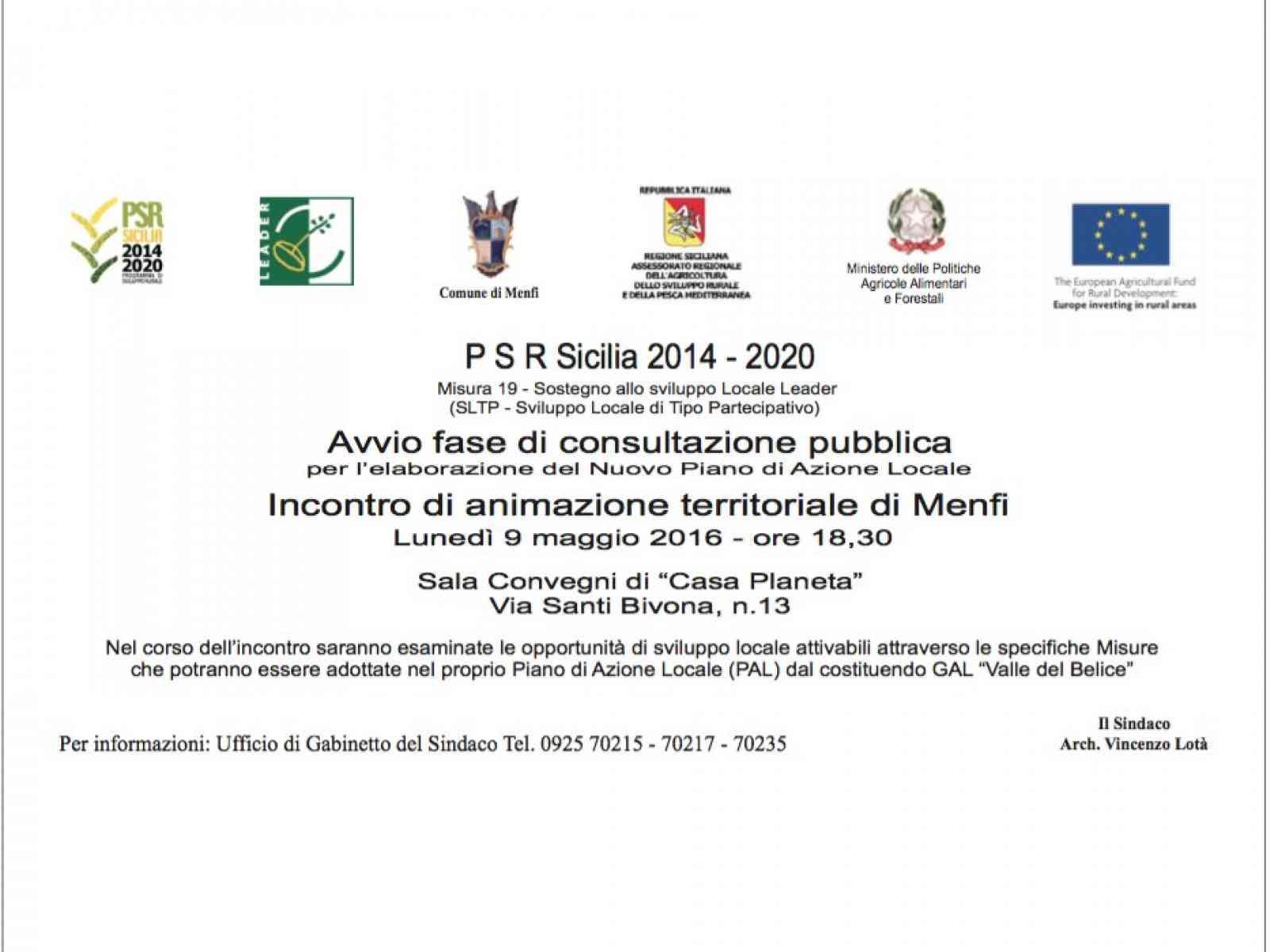 PSR 14/20. Lunedì, a Menfi, un'incontro per l'elaborazione del nuovo Piano Azione Locale