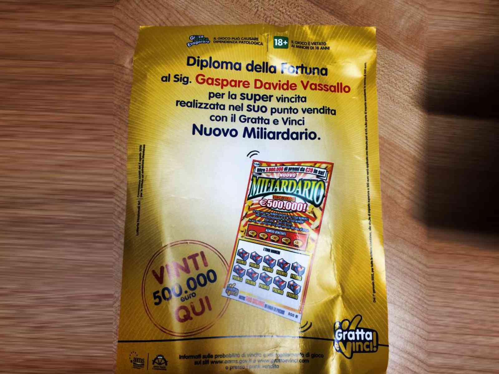 Santa Margherita. Vinti 500 mila euro con gratta e vinci, chi sarà il vincitore?
