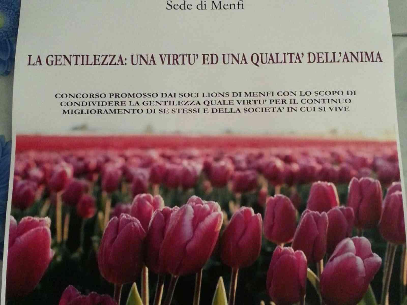 """Lions club Menfi indice il concorso """"La gentilezza: una virtù ed una qualità dell'anima"""""""