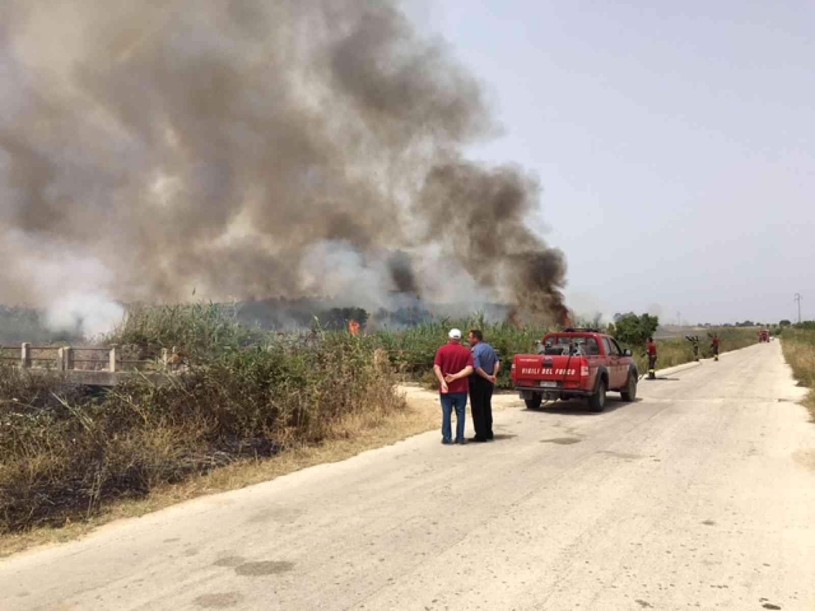 Menfi. Incendio a Cipollazzo, vigili del fuoco sfidano il gran caldo