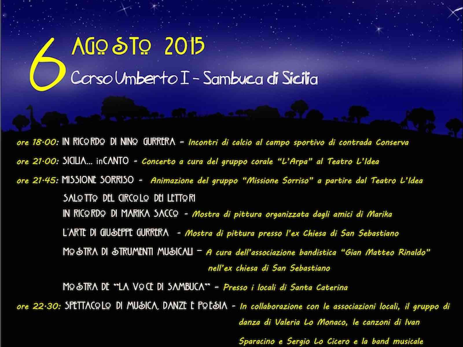 Giovedì 6 è tempo di cultura a Sambuca di Sicilia per la Notte Bianca della cultura