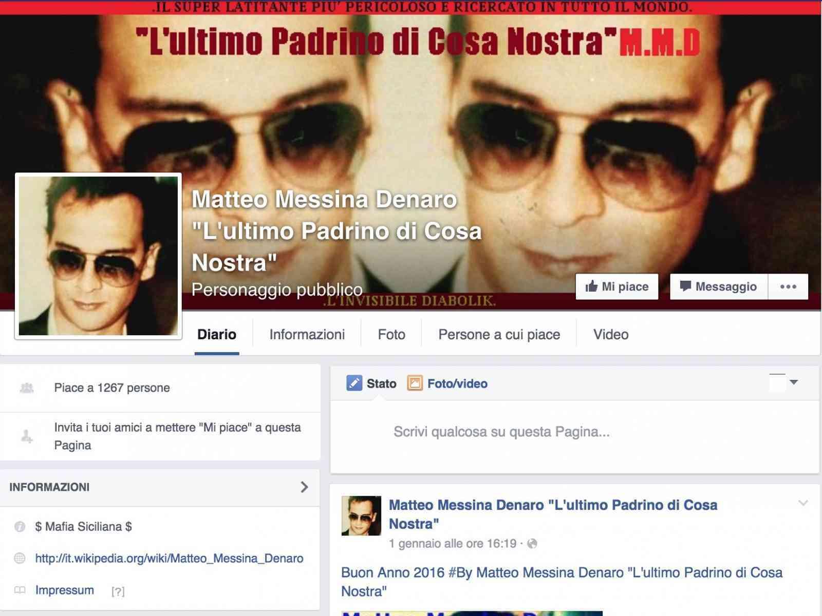 "Più di 1200 ""Mi Piace"" per una pagina Facebook inneggiante a Messina Denaro"