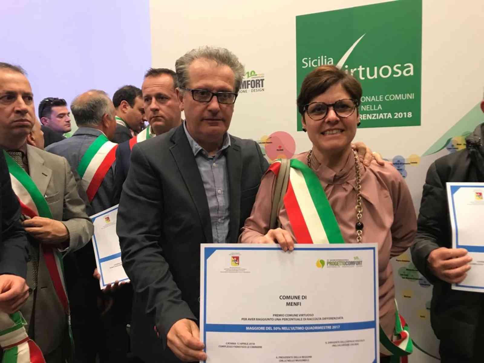 """Raccolta differenziata da """"record"""" a Menfi. Oltre il 65% nel 2018. Comune premiato a Catania"""