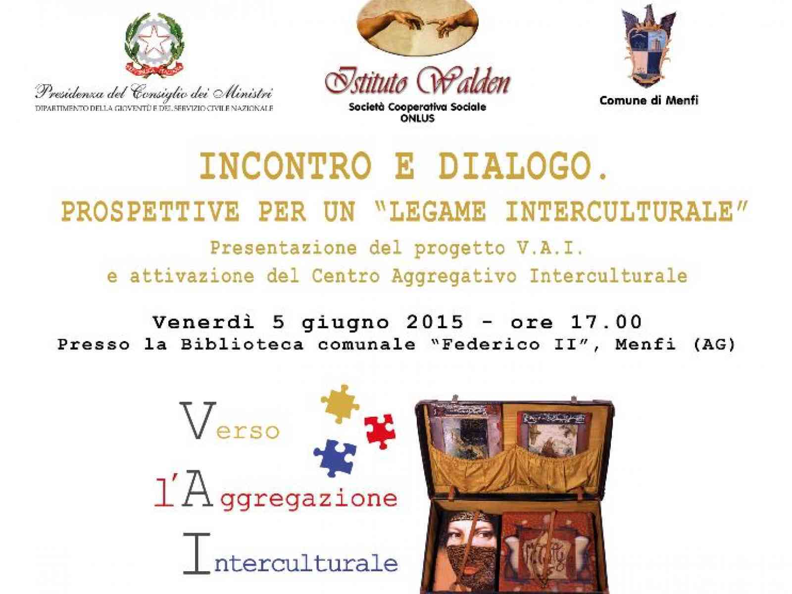 """Progetto """"V.A.I. (Verso l'Aggregazione Interculturale):il 05 Giugno la presentazione a Menfi"""