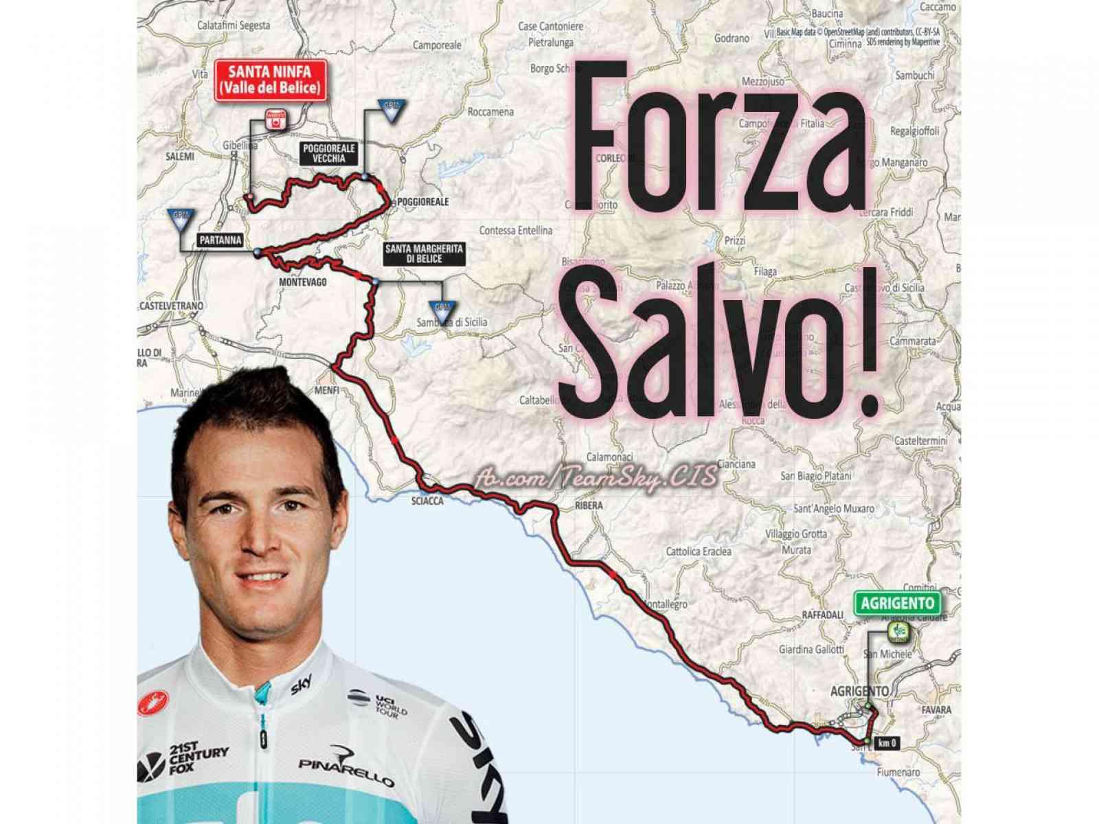 """Immagine articolo: Giro d'Italia, Menfi aspetta il """"suo"""" campione. Salvatore Puccio passerà tra le 15e18 e le 15e29"""