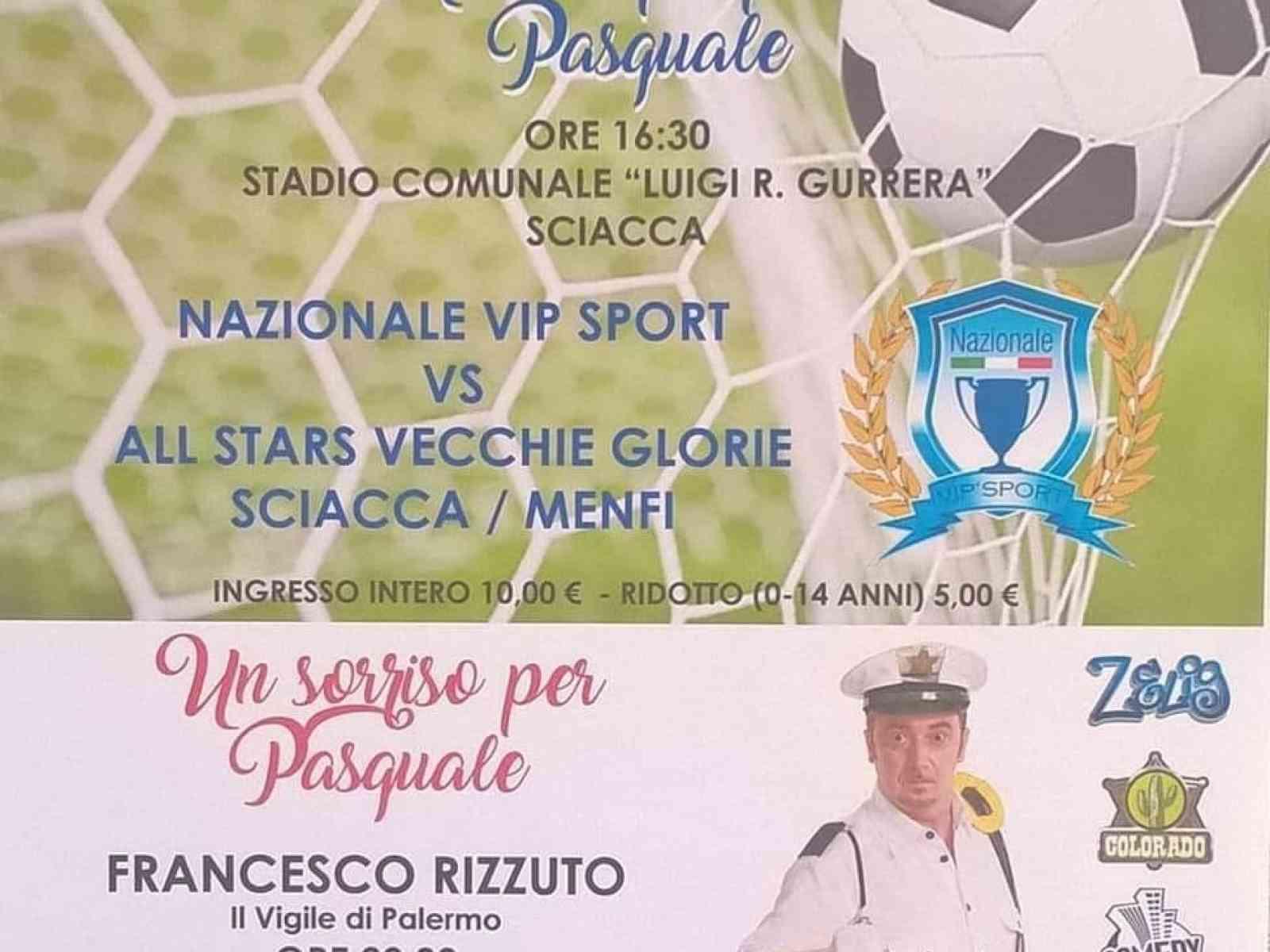 """Immagine articolo: """"Insieme si può"""" a Menfi e Sciacca per Pasquale Bonfante.  Il comico Rizzuto all'anfiteatro a mare. I campo anche All stars vecchie glorie Sciacca/Menfi"""