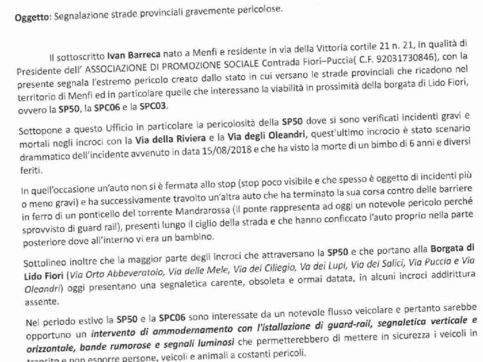 """Immagine articolo: Menfi. Associazione C.da Fiori: """"Ammodernate Strade provinciali"""". Troppi incidenti e pericoli sulla SP50"""