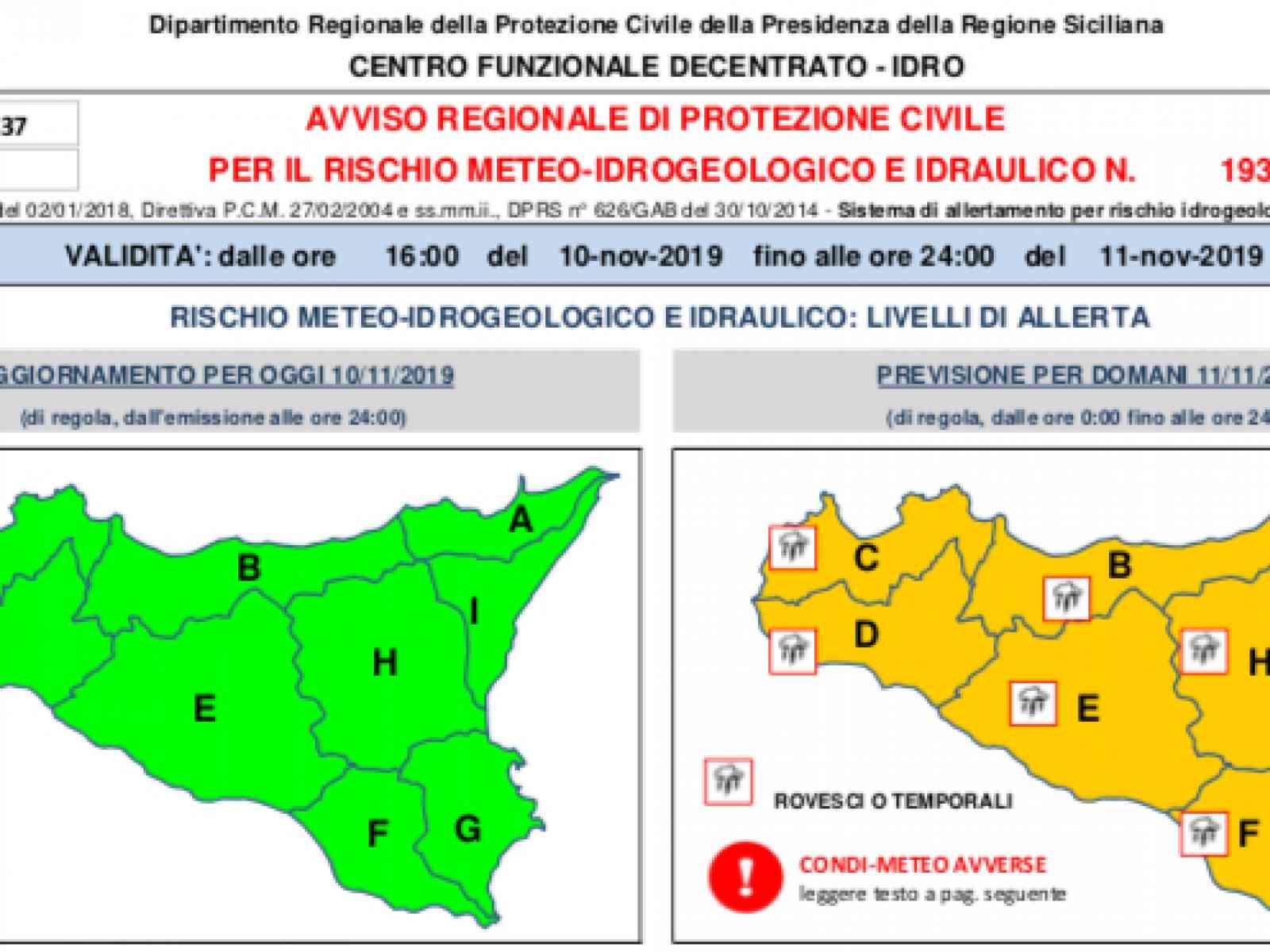 Immagine articolo: Allerta meteo arancione. Sindaco Mauceri ordina chiusura delle scuole per domani