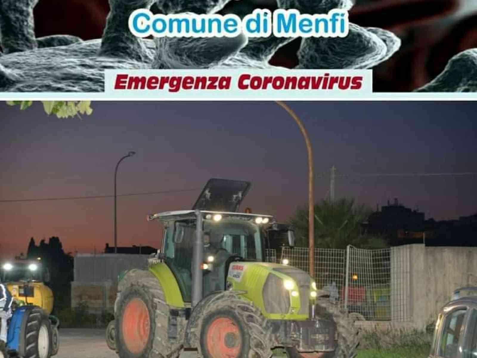 Immagine articolo: Agricoltori di nuovo in azione a Menfi per effettuare un intervento di sanificazione e disinfezione del territorio