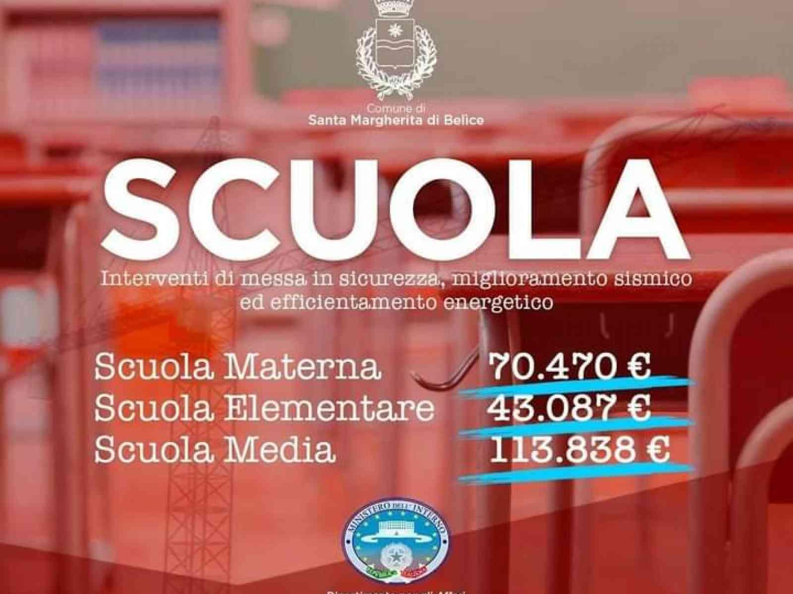 Immagine articolo: Santa Margherita, finanziamenti in arrivi per la progettazione della sicurezza scolastica della materna, elementare e media