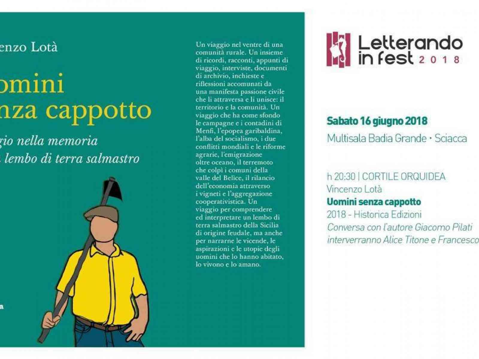 """Immagine articolo: Vincenzo Lotà presenterà domani il libro """"Uomini senza cappotto"""". Viaggio nella memoria di un lembo di terra salmastro"""